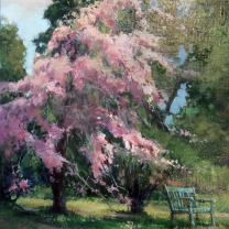 """Under the Cherry tree"" by Kendall Klingbeil, Oiriginal Oil on Board, 8x10"
