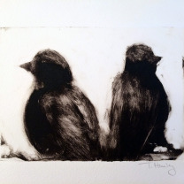 TRISH HURLEY BIRDS I (FACING AWAY) 5X7 ETCHING