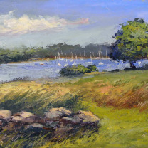 TRISH HURLEY HARBOR FARM 8X10 OIL ON PANEL