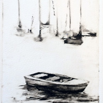 TRISH HURLEY ROW BOAT 10x6 ETCHING