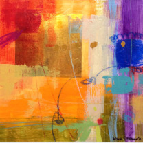 URSULA BRENNER GOLD LEAF, ABSTRACT 38080 12X12 MIXED MEDIA ON PAPER