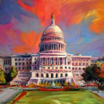 """Capitol at Sunrise"" by Jennifer Bowman Original Acrylic on Board, 11 x 4"