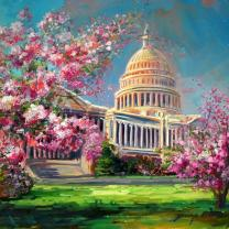 """Capitol with Cherry Blossoms"" by Jennifer Bowman"