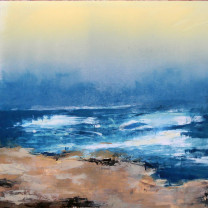 "Swell at Dusk, 22"" x 22"" by Jane Cooper"