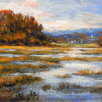 "Over the Marsh. 4"" H x 6"" W"